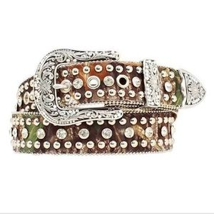 NOCONA Camo Belt with Silver Studs & Crystals - S